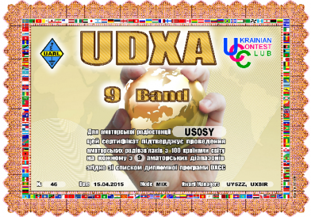 9 BAND DXCC - US0SY